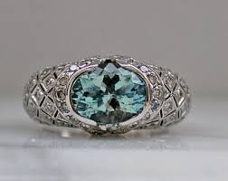 aquamarine and diamond ring vintage aquamarine engagement ring etsy