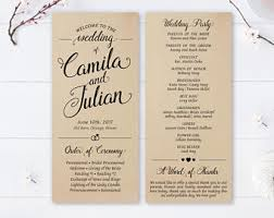 where to get wedding programs printed printed program etsy