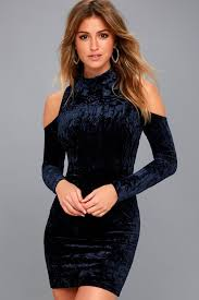 cold shoulder dress navy blue bodycon dress velvet cold shoulder dress