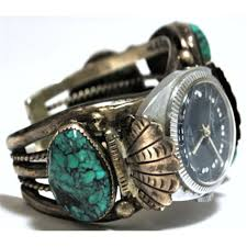 sterling silver bracelet watches images Old pawn turquoise sterling silver cuff bracelet men 39 s watch with jpg