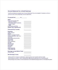 small business profit and loss statement template income