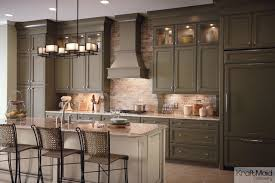 Olive Green Kitchen Cabinets Kraftmaid Maple Cabinetry In Sage And Mushroom With Cocoa Glaze