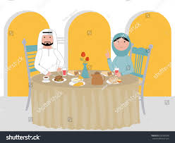Their Home by Muslim Arab Couple Dinner Table Their Stock Vector 633390038
