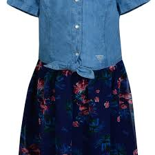 guess girls blue denim dress with blue and pink floral print skirt