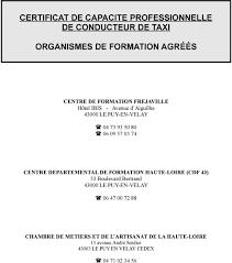 chambre des metiers haute loire certificat de capacite professionnelle de conducteur de taxi