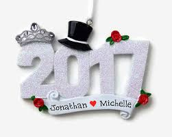 married in 2017 personalized ornament newlyweds
