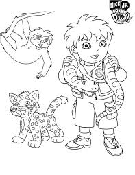 Diego And Protected Animal In Go Diego Go Coloring Page Netart Go Diego Go Coloring Pages