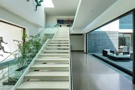 Interior Water Features Contemporary New Delhi Villa With Amazing Courtyard And Water