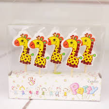online shop 5pcs set cute giraffe birthday craft candles cupcake