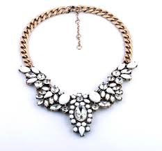 statement necklace white images Gold chain white rhinestone crystal choker statement necklace for jpg