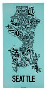 seattle map usa seattle neighborhood type map posters prints made in the usa