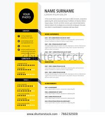 cv resume template creative cv resume template yellow color stock vector 766232509