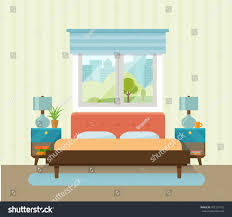 interior space bedroom bed near window stock vector 471297515