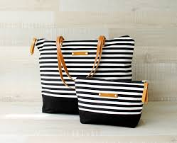 nautical tote zippered striped tote bag express shipping tote bag