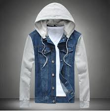 jean sweater jacket fashion mens denim hoodie jackets top coat hooded