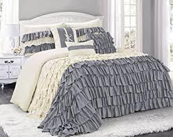 Ruffled Bed Set 7 Brise Color Ruffled Comforter Set