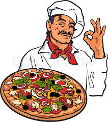 smiling italian chef holding pizza in his sketch style