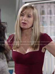 ashley s hairstyles from the young and restless wornontv ashley s burgundy cap sleeve dress on the young and the