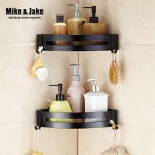 Black Bathroom Shelves Black Aluminum Bathroom Corner Shelf Cosmetic Rack With Single