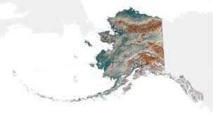 Usa Map Alaska by Large Topographical Map Of Alaska State Alaska State Usa