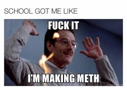 Fuck School Memes - school got me like fuck it itm making meth memngen meth meme on