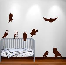 birch tree winter forest set vinyl wall decal 1161 nursery owl decal set 1251 jpg