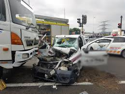 two security guards injured in crash into truck