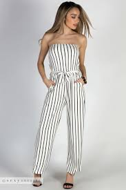 white wide leg jumpsuit effortless white black stripes strapless wide leg jumpsuit