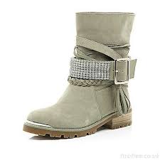 womens biker boots nz eye catching beige suede chain embellished biker boots s
