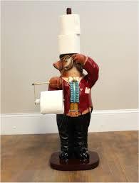 dog boxer butler toilet paper holder holding nose bathroom fixture