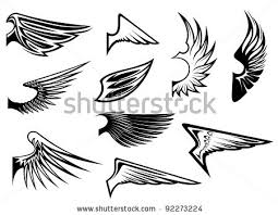 set of bird wings for heraldry or emblem design such a logo jpeg
