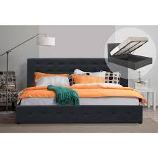 hendrix queen fabric gas lift bed frame dark grey buy queen bed