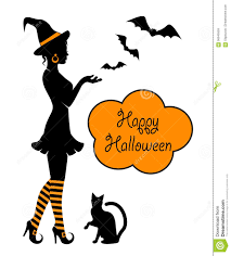 stockings halloween silhouette of a witch on halloween stock vector image 56945559