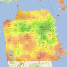 San Francisco City Map by San Francisco Heat Map 87 All City With San Francisco Heat Map