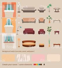 design your own home wallpaper set of domestic living room elements and furniture to create your