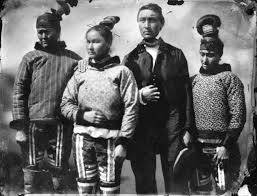 an inuit group in inuit and european clothes national maritime