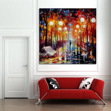hand painted misty reflections palette knife oil painting on