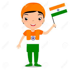 Holding The Flag Smiling Child Boy Holding A India Flag Isolated On White