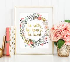 emerson quote kindness gold floral print be silly be honest be kind emerson quote