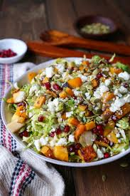 butternut squash recipe for thanksgiving shaved brussel sprout salad with roasted butternut squash the