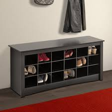 Modern Entryway With Black Wood Entryway Storage Bench Red Rug