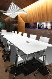 Conference Table With Chairs This White Boardroom Table Would Offset The Black Ceiling And