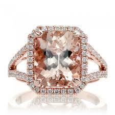 morganite gold engagement ring 11x9 cushion split band diamond halo engagement ring gold