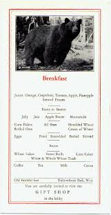 Old Faithful Inn History - Old faithful inn dining room menu