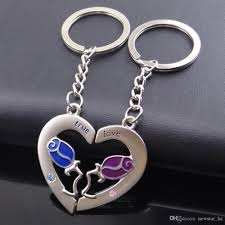 shaped key rings images Metal couples heart shaped keychains footprint rose flower love jpg