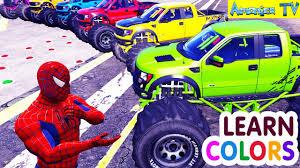monster trucks lightning mcqueen spiderman learn colors with trucks u0026 cars coloring spiderman car cartoon