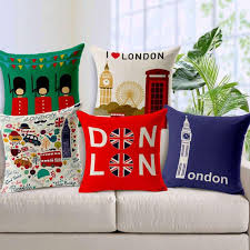 union jack london linen cotton cushion nordic british home decor