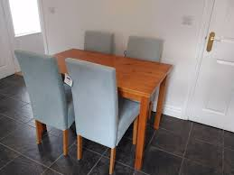Argos Oak Furniture Lincoln Oak Effect 120cm Dining Table 4 Duck Egg Chairs New
