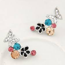 flying butterfly and flowers design fashion earrings silver