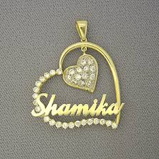 name pendant 10kt gold personalized two tone cubic heart name pendant jewelry